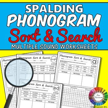 Spalding phonogram worksheets! Sort and Search for all the phonograms that have multiple sounds. This is a fantastic resource for children learning and reinforcing the Spalding phonograms.