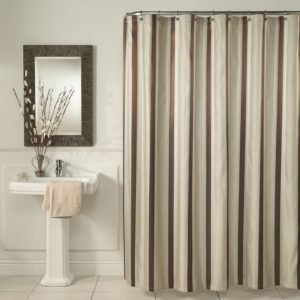 Brown And Cream Striped Shower Curtain