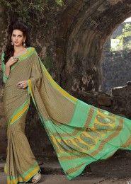 Casual Wear  Crepe Green Printed Saree