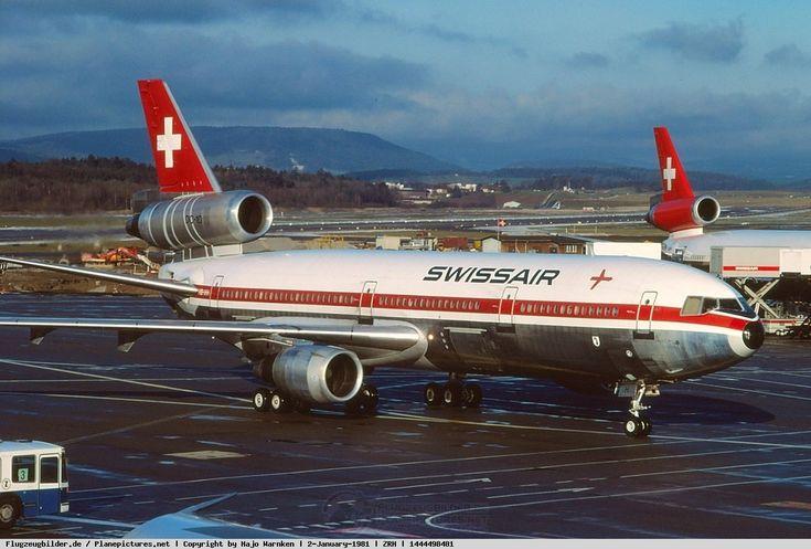 "Swissair McDonnell Douglas DC-10-30 HB-IHH ""Basel-Stadt"" at Zürich-Kloten, January 1981. (Photo: Hajo Warnken)"