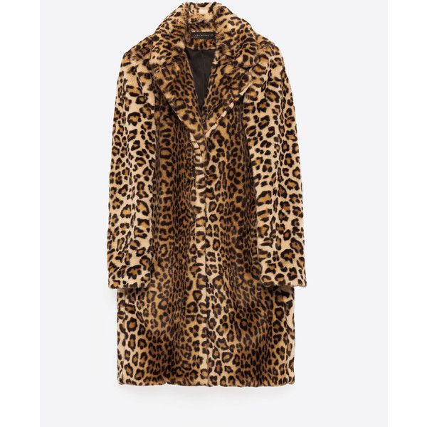 FAUX FUR LEOPARD COAT - View all-OUTERWEAR-WOMAN | ZARA United Kingdom ($86) ❤ liked on Polyvore featuring outerwear, coats, leopard print coat, imitation fur coats, brown faux fur coat, brown coat and leopard coat
