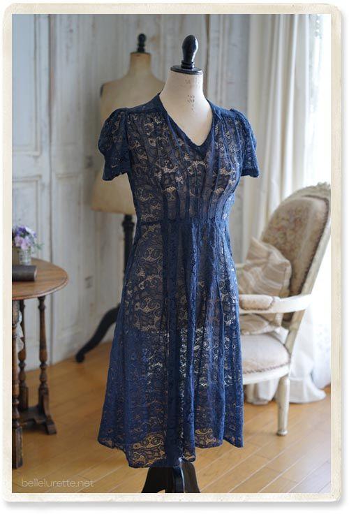 1930年コットン総レースワンピース - 【Belle Lurette】ヨーロッパ フランス アンティークレース リネン服の通販