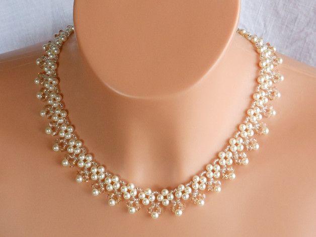 Joyas y bisutería de novia - collar nupcial de cristal swarovski, novia collar - hecho a mano por akcrystalbead en DaWanda