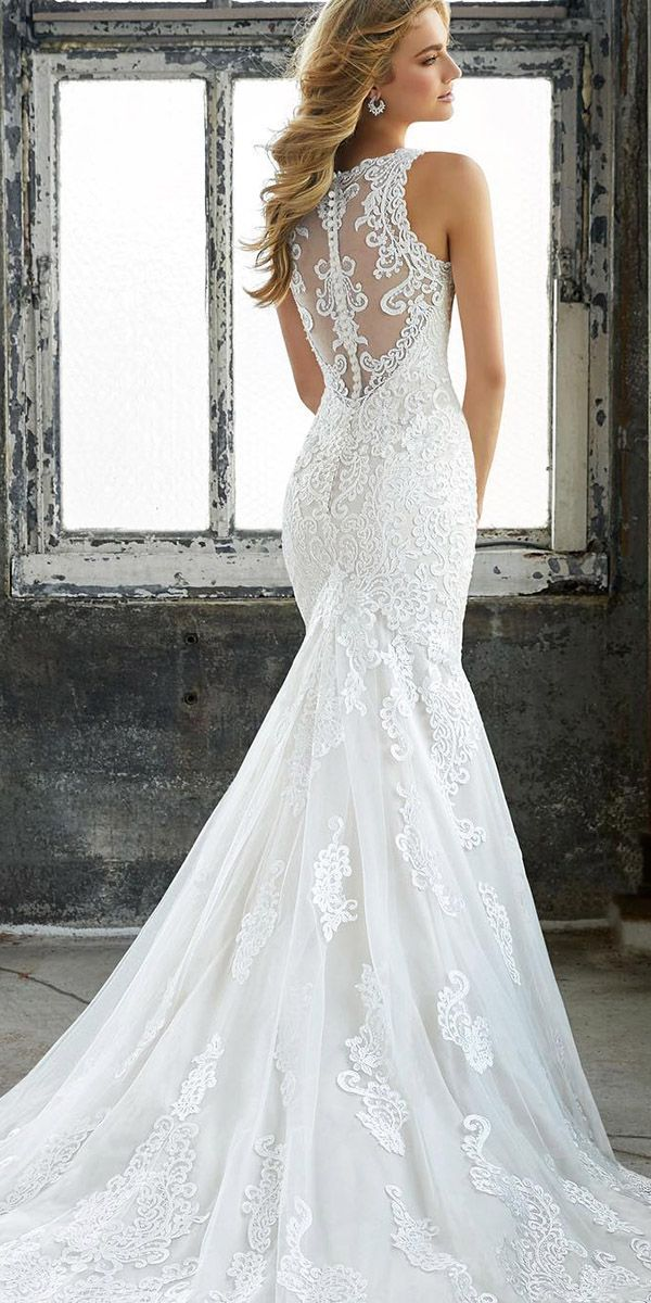30 Mermaid Wedding Dresses For Wedding Party ❤️ mermaid wedding dresses illusion back with buttons sleeveless mori lee ❤️ Full gallery: https://weddingdressesguide.com/mermaid-wedding-dresses/ #bride #wedding #bridalgown