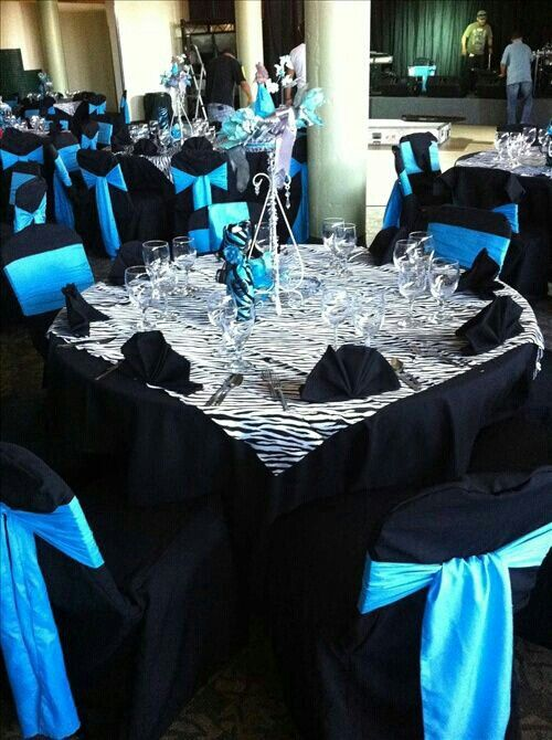 party table zebra print black and caribbean blue