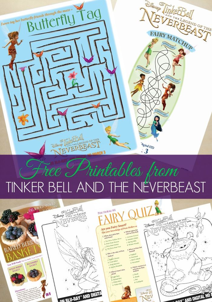 tinker bell and the neverbeast free coloring pages and printable activities tinkandneverbeast collectivebias - Free Kids Printable Activities