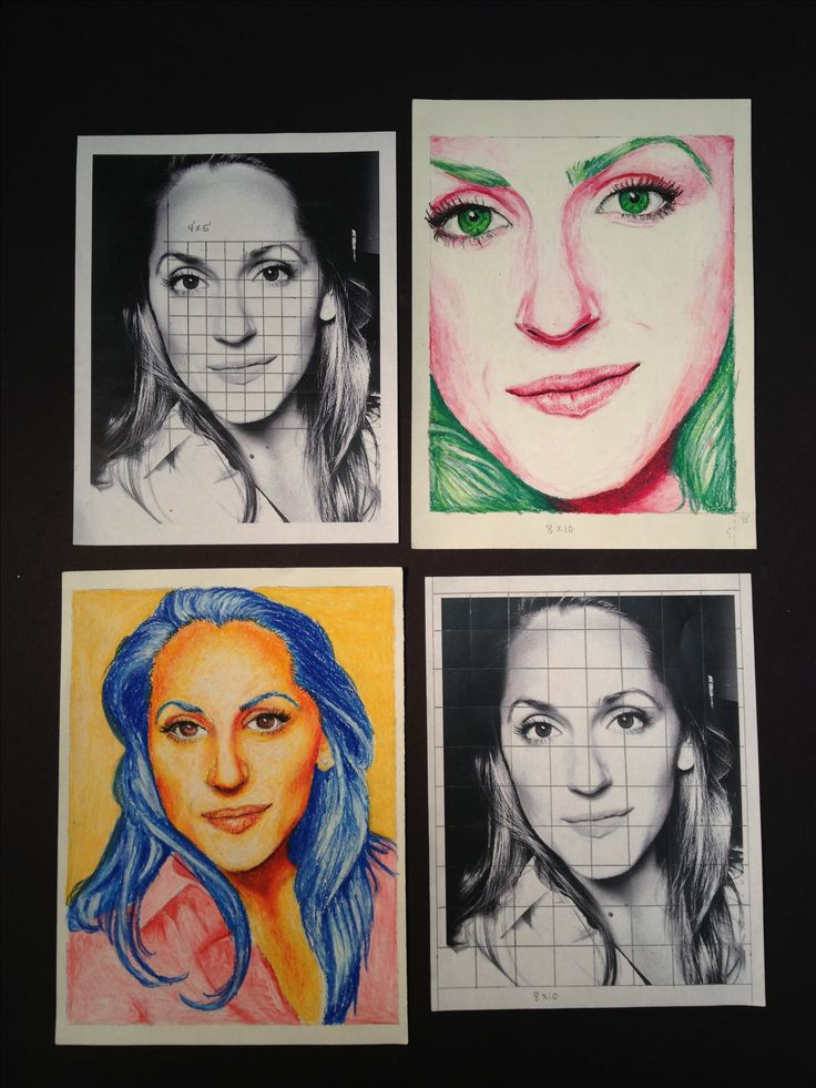 High School Art Lesson - Self-Portrait with color schemes in oil pastel. Transfer or enlarge with the grid method. This is a great time to practice drawing/transferring upside down in order to turn on the right side of the brain to see shapes and spacial relationships.