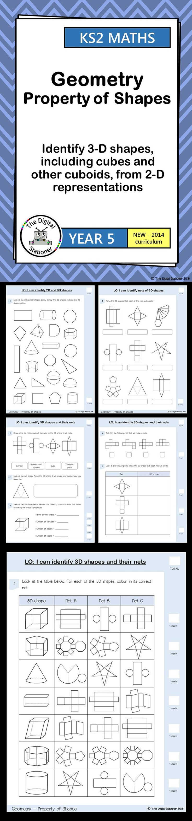 Year 5 - Identify 3D shapes, inc. cubes & cuboids from 2D representations -Geometry - Property of shape (inc. mastery).38 PDF printables. These include worksheets, 3D shape nets, mastery, extension and resource cards all designed for the 2014 curriculum.