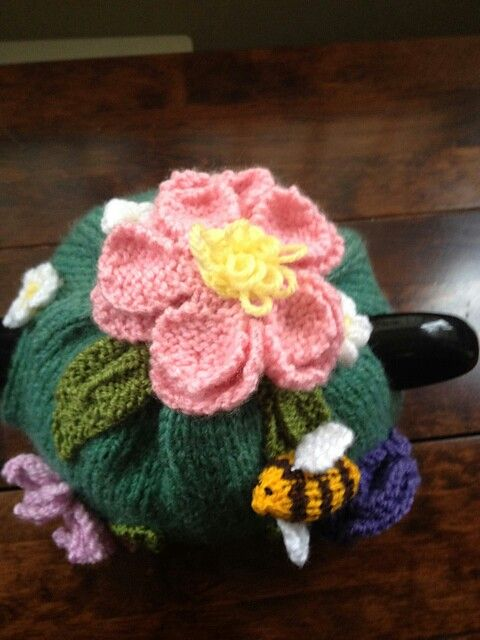 Knitted tea cosy floral