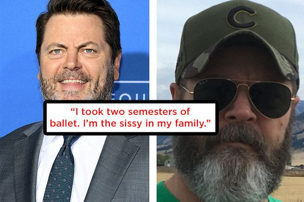 """Nick Offerman Just Schooled An Interviewer On Masculinity  """"I stand for my principles and I work hard and I have good manners, but machismo is a double-sided coin,"""" he said. """"A lot of people think it requires behavior that can quickly veer into misogyny and things I consider indecent. We've been sold this weird John Wayne mentality that fistfights and violence are vital to being a man."""""""