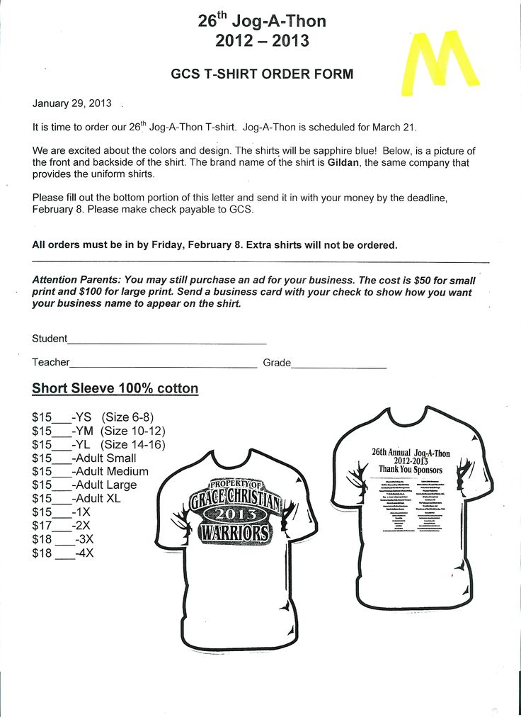 15 best Jog-a-thon images on Pinterest Fundraisers, Fundraising - t shirt order form
