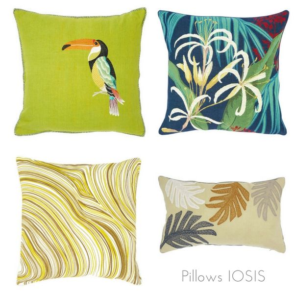 Tropical pillows, Iosis. http://www.kenisahome.com/blog