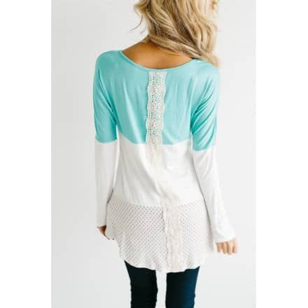 Cute with Lace Mint Top - Neesee's Dresses