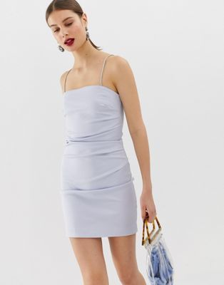 bef989070bb5 River Island mini dress with diamante straps in blue | Christmas ...