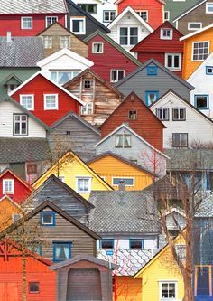 Colorful houses in Voss, Norway.