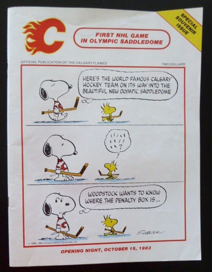 Calgary Flames vs Edmonton Oilers NHL 1st Game Saddledome Oct 1983 & 4Pic Snoopy #vsEdmontonOilers