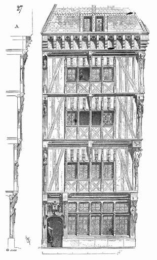Rouen, Maison du XVe siècle à quadruple encorbellement. Viollet-le-Duc, Dictionnaire raisonné de l'architecture française du xie au xvie siècle.
