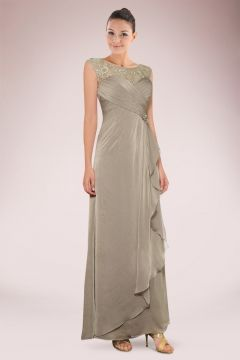 Graceful Chiffon Mother of Bride Dress Accented with Lace Panel and Feminine Ruffles$$ <150