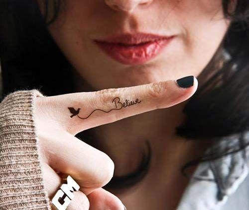 believe bird tattoo finger finger tattoo