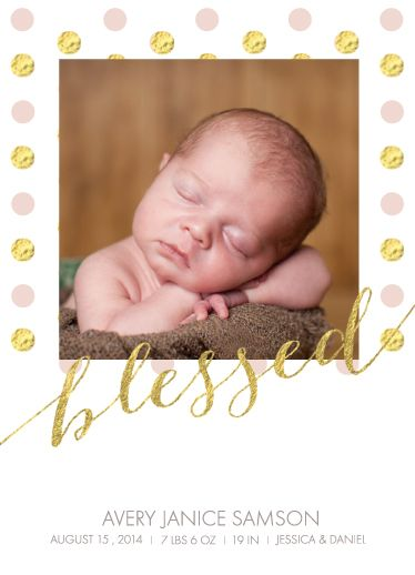 """birth announcement card """"blessed"""""""