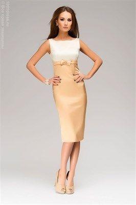 Золотое платье-футляр с молочным верхом без рукавов - фото 7771