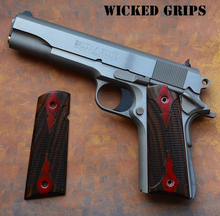 CUSTOM 1911 WOOD GRIPS GEM SERIES! BLOODY BASIN JASPER IN EBONY - Wicked Grips