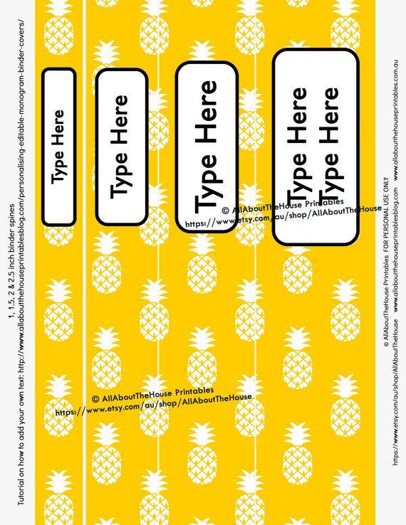 printable binder spine, pineapple, planner accessory, printable planner cover, rainbow, recipe, school, college, binder insert, happy planner, erin condren, planner printable, editable, personalised https://www.etsy.com/au/listing/476398551/planner-cover-binder-divider-planner?ref=listing-shop-header-0