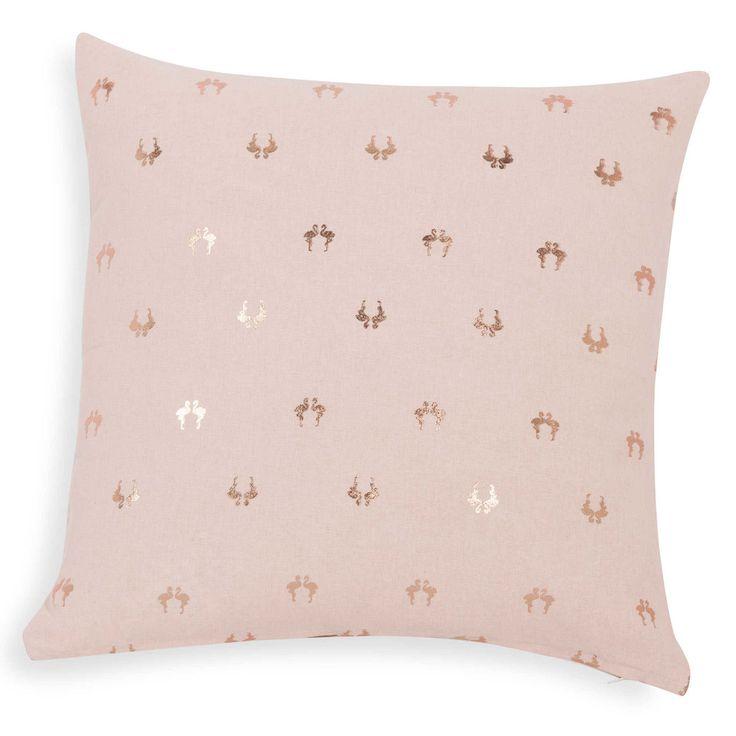 Housse de coussin flamant rose en coton 40 x 40 cm FLAMENCO | Maisons du Monde