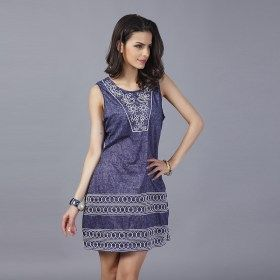 Embroidery Neck Dark Blue Vintage Sleeveless Mini Casual Dress