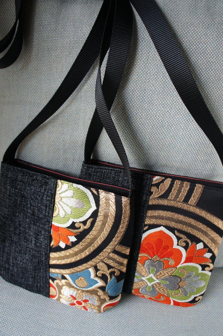 Hand made Japanse kimono (obi-belt) fabric shoulder bag
