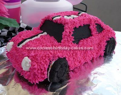 Car shaped cake!  Could finish it in a smoother icing. If you need more cake, could put another cake underneath as the roadway.