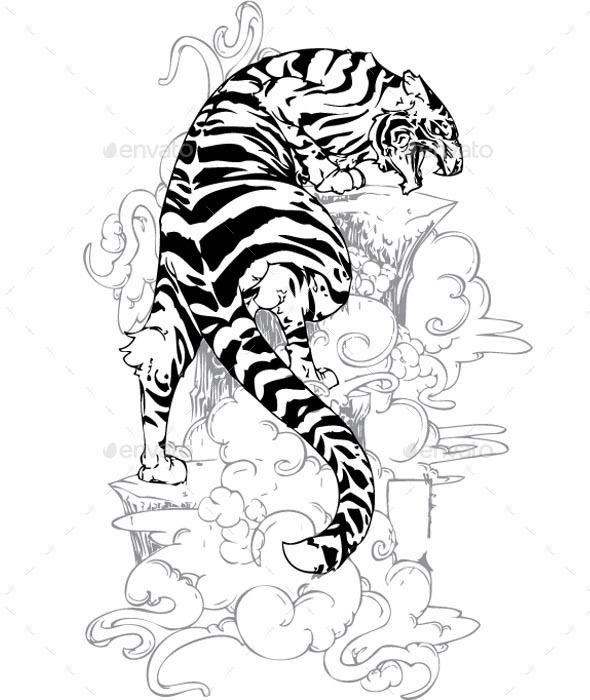 GraphicRiver Yakuza Tiger Tattoo 9751703