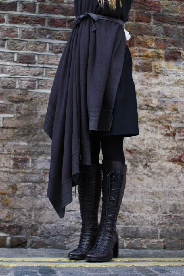 Boots: Ann Demeulemeester; Vest: Haider Ackermann -love the boots- love the hemline-