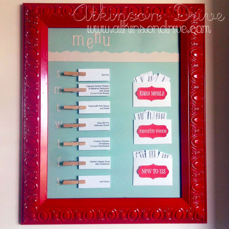 Menu Board mom found. I want to do this. Make a binder of all the recipes- easy, favorites, and new then have the board. makes shopping list easier and dinner planning faster.
