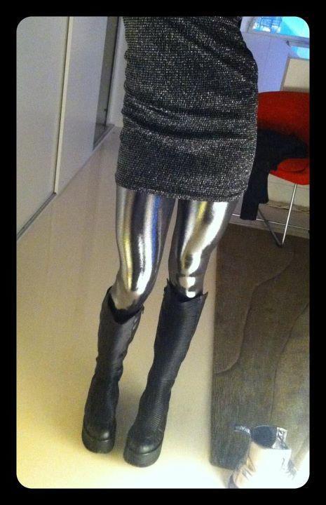 Liquid Silver Leggings | Black Milk Clothing