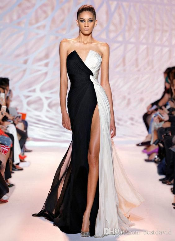 Zuhair Murad Couture Black And White Celebrity Dresses 2016 Sexy V-Neck Thigh High Slit Ruched Chiffon Floor-Length Prom Evening Formal Gown