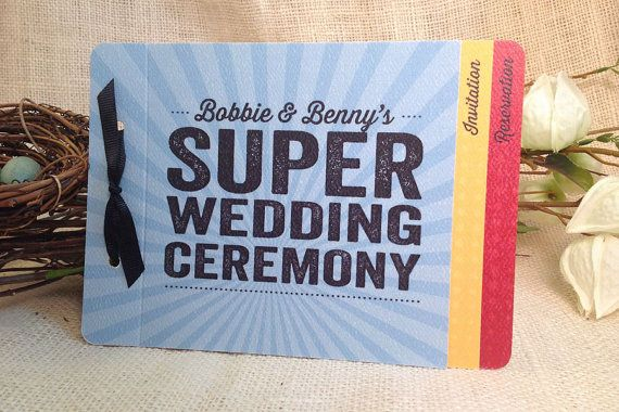 Super Hero Wedding Livret Booklet Invitation: by nestingprojectwed