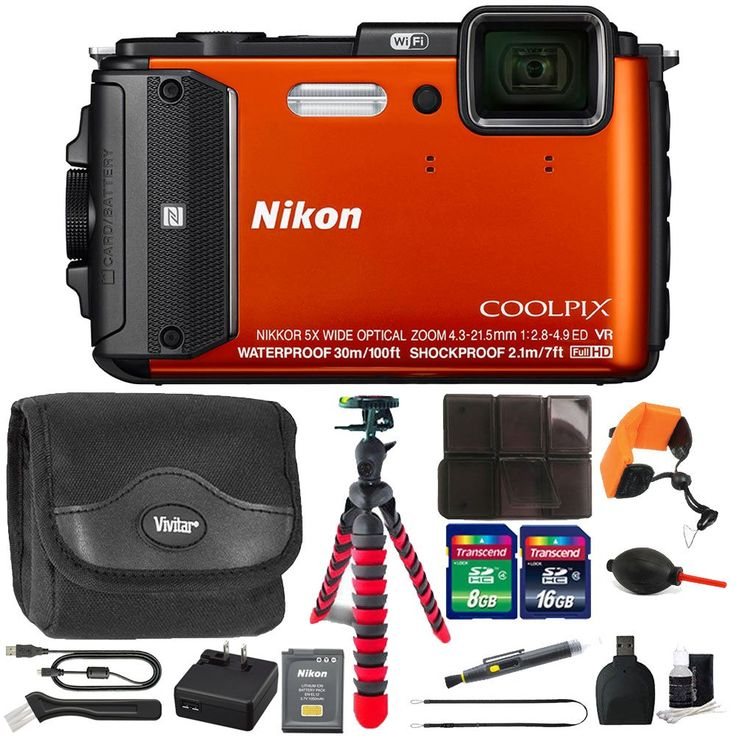 Nikon COOLPIX AW130 1080p HD Waterproof Digital Camera with 24GB Deluxe Accessory Kit. Depth Rating: 100', Shock-Proof: 7' Freeze-Proof: 14°F. Built-In Wi-Fi, NFC, GPS. Hybrid Vibration Reduction. Remote Control via Smartphone or Tablet. Electronic Compass, Points of Interest.