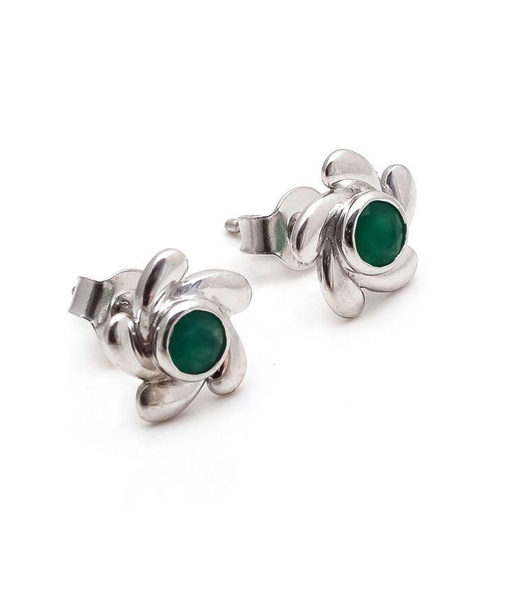 Greenonyx Earring Natural Gemstone Bezel Set in Solid 925 Sterling Silver(SDE1G) #Rananjay #StudEarrings