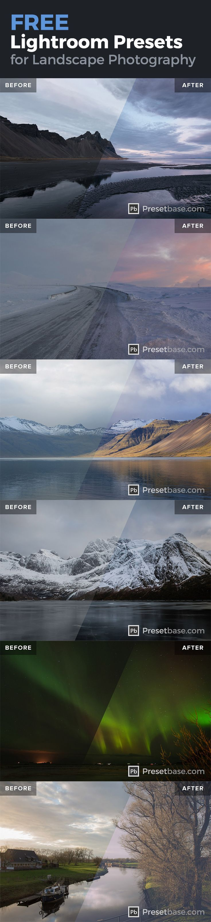 A collection of *FREE* Lightroom Presets for Lands…