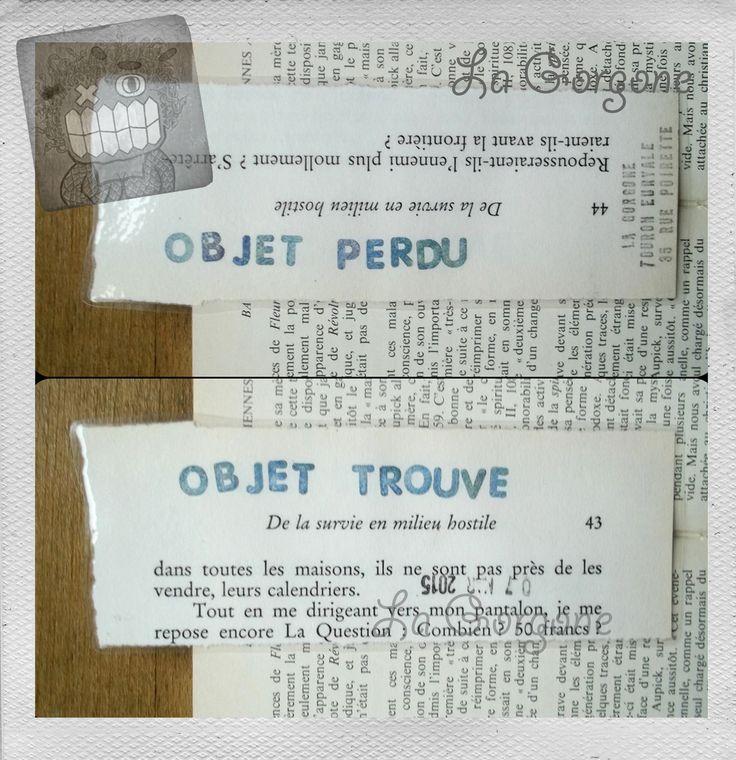Objet perdu....objet trouvé Marque page plastifié unique et fait main par la Gorgone. : Marque-pages par la-gorgone