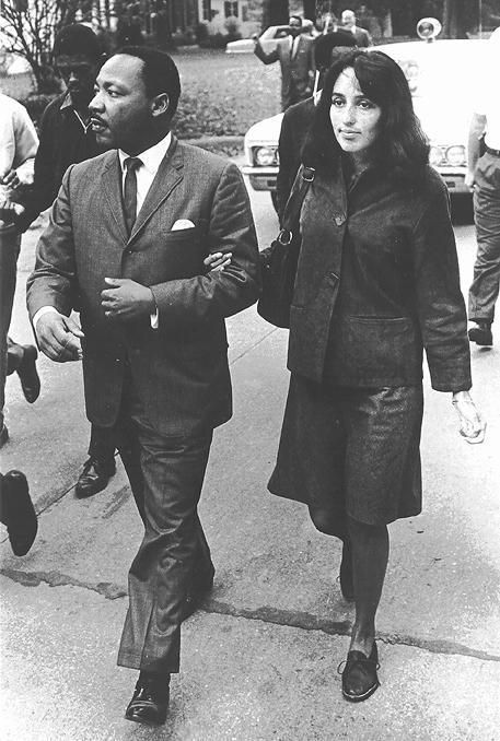 Grenada, Mississippi, 1966: Martin Luther King and singer Joan Baez marching to the Grenada, Mississippi school that was being integrated.
