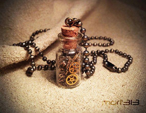 Steampunk Gears Bottle Pendant. Glass Vial Necklace. Cogs Gear Miniature Vial, Mini Bottle, Medium. Vintage Watch Mechanical Movement