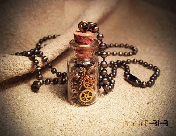 Steampunk Gears Bottle Pendant. Glass Vial Necklace. Cogs Gear Miniature Vial, Mini Bottle, Medium. Vintage Watch Mechanical Movement