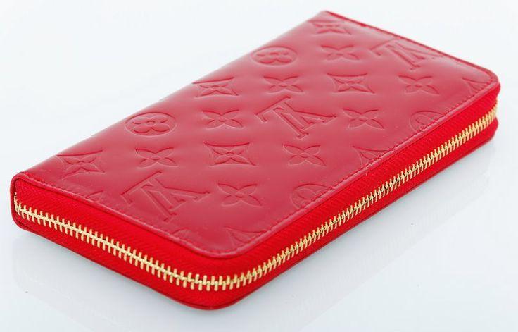 Кошелек Louis vuitton из натуральной кожи с лаковым покрытием, красного цвета #18850