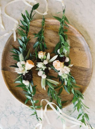 Olive branch and spray roses: http://www.stylemepretty.com/living/2015/07/11/party-idea-floral-crown-bar/