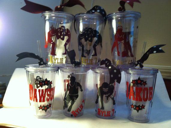 Personalized Tumblers 16 oz w/Straw BPA Free, Wrestling, Sports Theme, Football, Basketball, Softball, on Etsy, $10.00