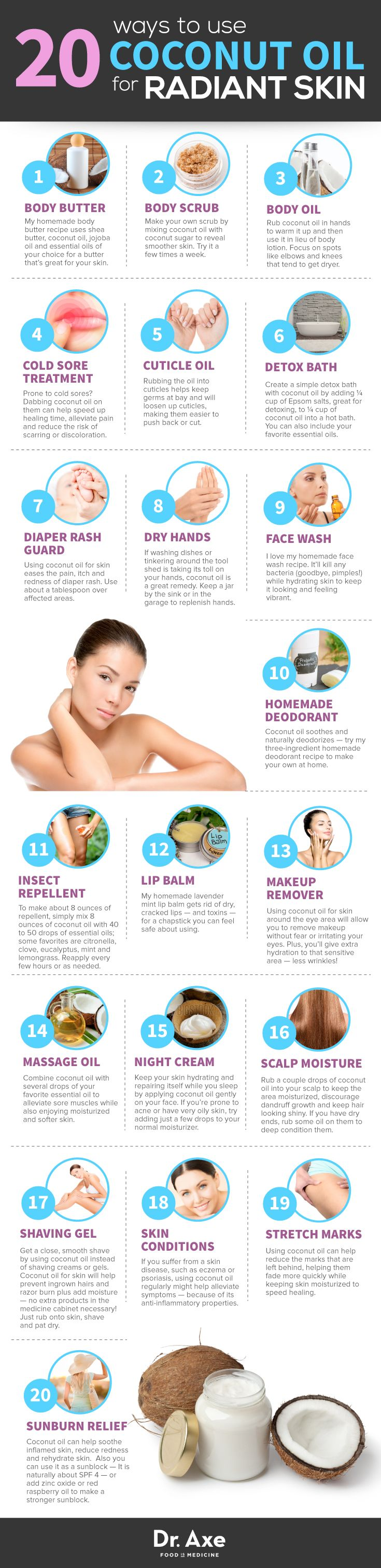 20 Ways to Use Coconut Oil for Radiant Skin https://www.draxe.com #health #holistic #natural