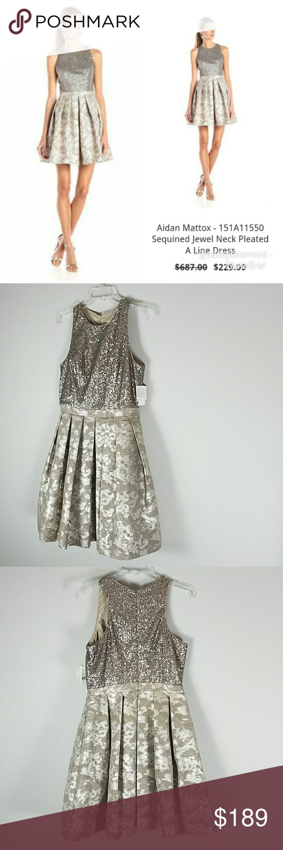 NWT Aidan Mattox Metallic Sequin Dress w/ Pockets Aidan Mattox Pleated Metallic Sequin A-line Dress with Pockets. Sleeveless/halter style with zipper in back & petticoat & lining. Stunning! Approx Measurements in inches with garment laying flat: chest 18, waist 15.5, length 37.5. Aidan Mattox Dresses Prom