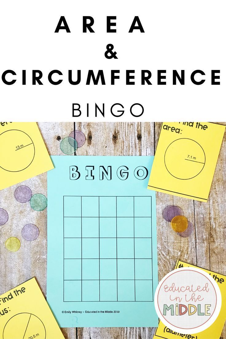 Area and Circumference of a Circle Activity: BINGO in 2020   Math geometry  activities [ 1104 x 736 Pixel ]